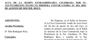 Acta de la Sesión Extraordinaria del Pleno de 02/08/2012