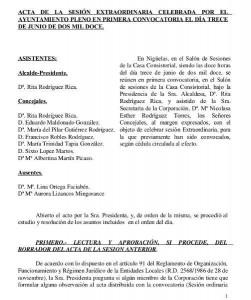 Acta de la Sesión Extraordinaria del Pleno de 13/06/2012