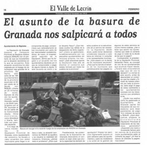 Artículo del Ayuntamiento en el periódico: El Valle de Lecrín