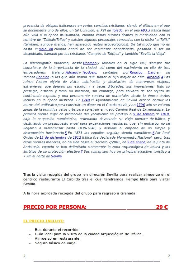 horario italica sevilla: