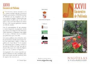 Programa del XXVII Encuentro de Polifonía 2015 en Nigüelas