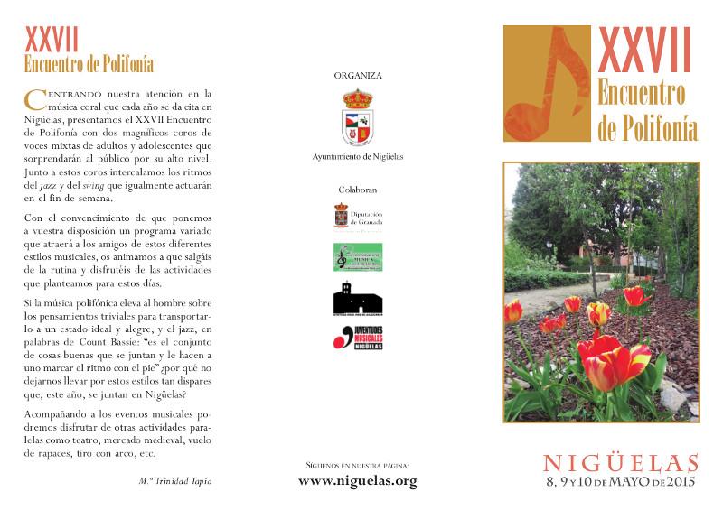 En este momento estás viendo Programa del XXVII Encuentro de Polifonía 2015 en Nigüelas