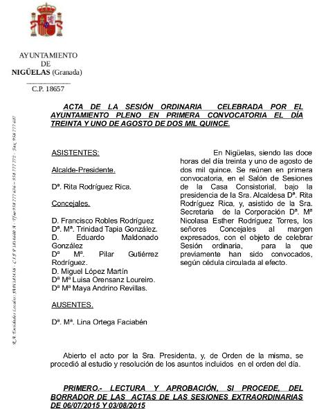 Acta de la Sesión Ordinaria de día 31 de Agosto de 2015 del Ayuntamiento de Nigüelas