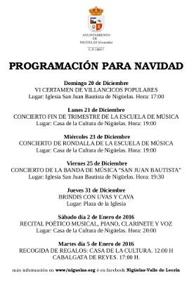 Programa de Eventos en Diciembre 2015
