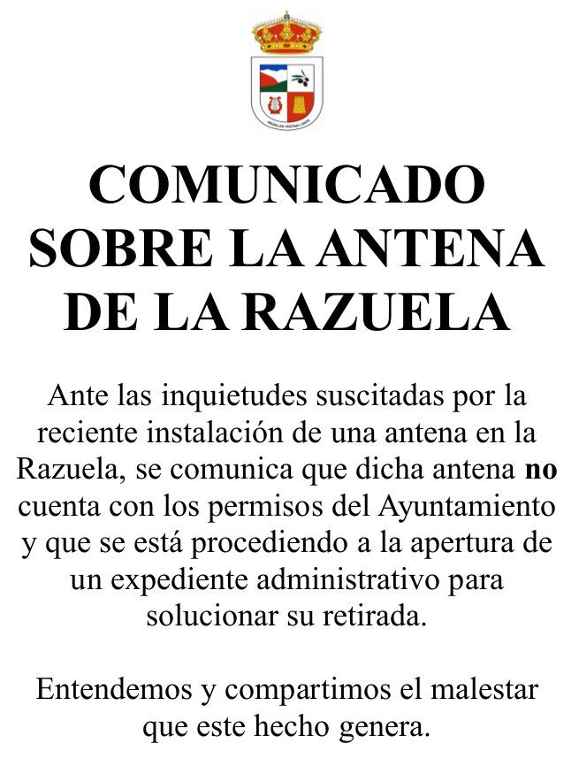 Comunicado sobre la antena de la Razuela