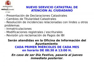 Nuevo servicio catastral de atención al ciudadano en Nigüelas