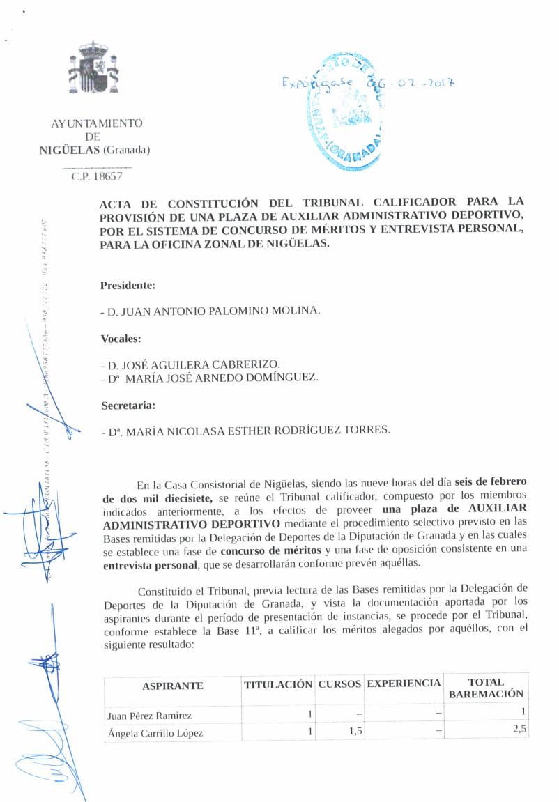 Acta Definitiva  plaza Auxiliar Administrativo-Deportivo
