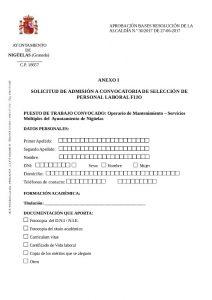 listado provisional de admitidos y excluidos en el procedimiento selectivo Personal Laboral Fijo
