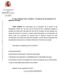 Anuncio convocatoria del cargo de Juez de Paz Sustituto