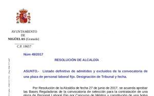 Listado definitivo de admitidos y excluidos de la convocatoria de una plaza de personal laboral fijo