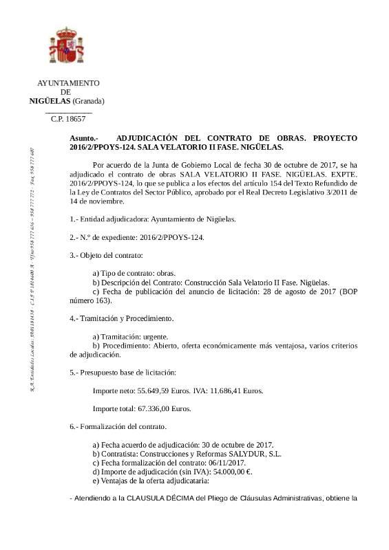 ADJUDICACIÓN DEL CONTRATO DE OBRAS, SALA VELATORIO II FASE
