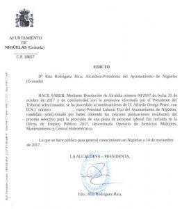 Edicto  de nombramiento de Operario de Servicios Múltiples