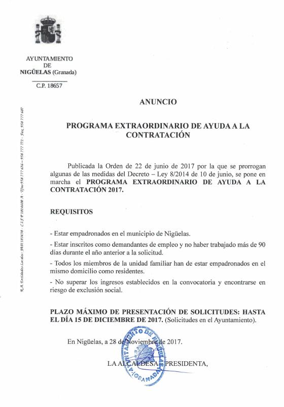 Programa Extraordinario de Ayuda a la Contratación – 2017