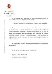 Aprobación Plan Municipal de Vivienda y Suelo de  Nigüelas