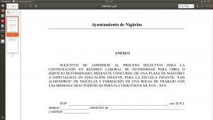 Anexo I de solicitud de plaza de maestro de educación infantil en régimen de interinidad y las bases