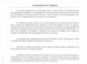 Lee más sobre el artículo ACTA TRIBUNAL CALIFICADOR OPOSICIONES MAESTRO INFANTIL