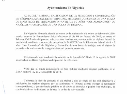 ACTA TRIBUNAL CALIFICADOR OPOSICIONES MAESTRO INFANTIL