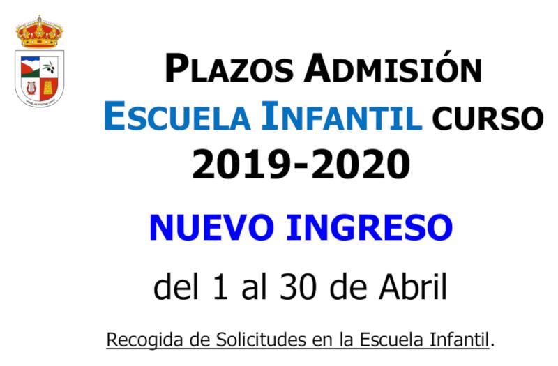 Plazos nuevas admisiones de la escuela infantil 2019-2020