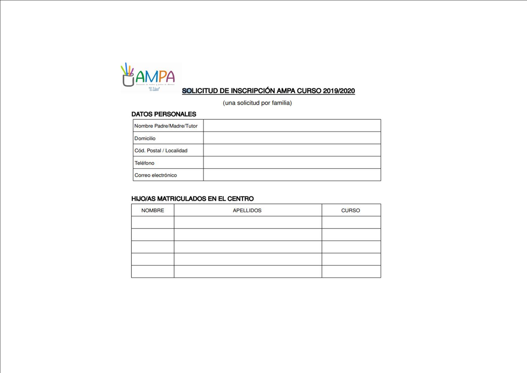 Solicitud Inscripción AMPA Nigüelas Curso 2019/2020