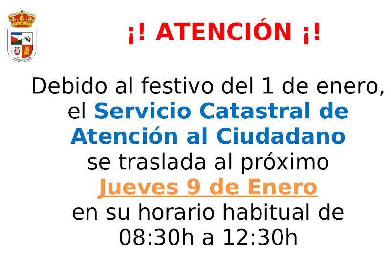 Cambio día atención Oficina del Catastro para Enero