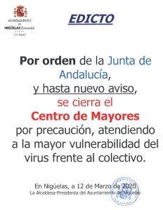 Edicto Cierre TEMPORAL del Centro de Mayores