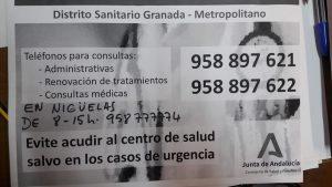 Comunicado del Centro de Salud de Nigüelas Frente al Coronavirus
