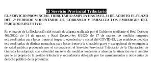 Comunicado Servicios Tributarios Granada
