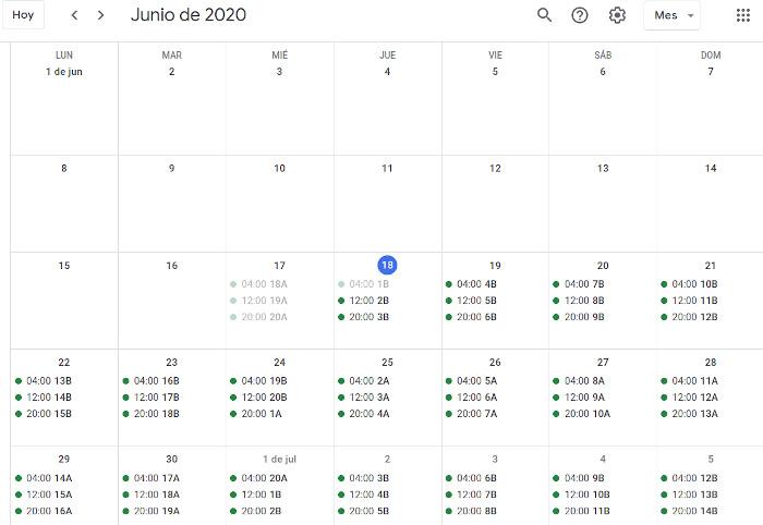 Calendario de Riego 2020