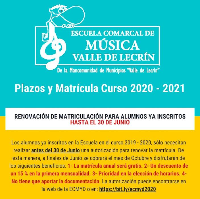 Curso 2020 – 2021 de la Escuela Comarcal de Música y Danza Valle de Lecrín