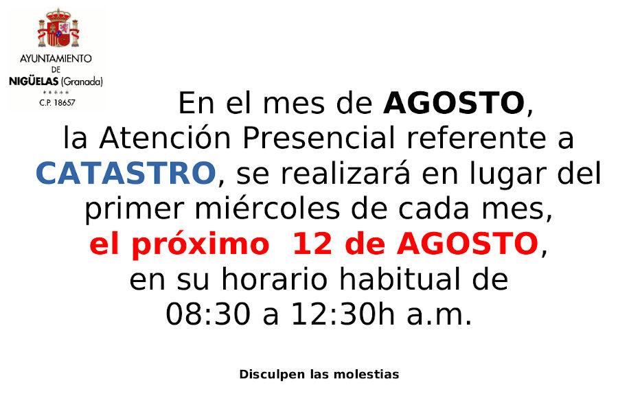 Atención Oficina Catastro en Agosto 2020
