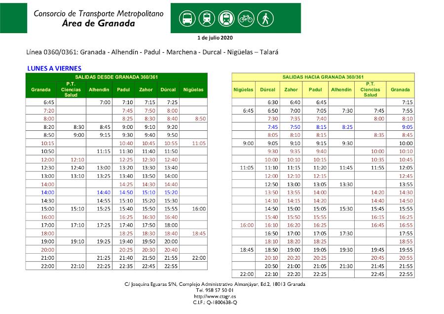 Horario de Autobuses desde 1 de Julio 2020