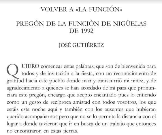 Un Pregón para el Recuerdo de parte de la Concejalía de Cultura del Ayuntamiento  de Nigüelas