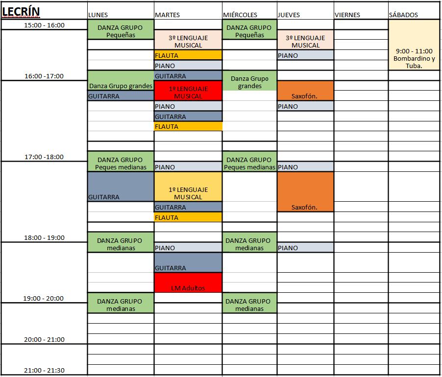 Horarios de Clases en LECRÍN – ECMYD – 2020 – 2021