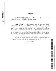 Edicto sobre  Juez de Paz en Nigüelas