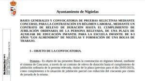 Proceso selectivo, mediante un contrato de relevo, AUXILIAR DE EDUCACIÓN INFANTIL